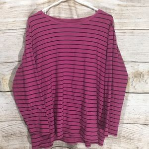 CJ Banks pink black striped long sleeve tee 3xl